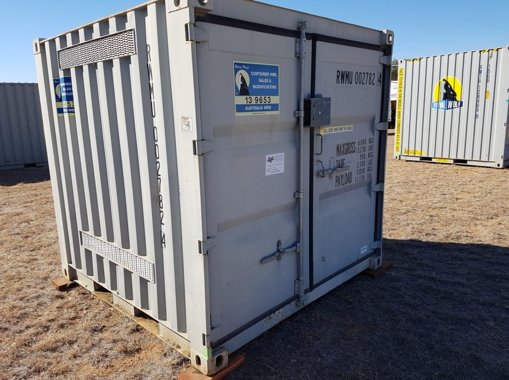 Containers: 8ft (2.4 metre). This one has vents top and bottom of both sides